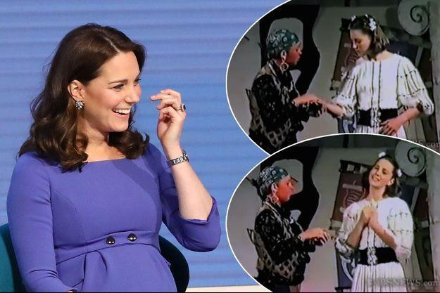 La duchesse de Cambridge, le 28 février 2018. En vignette, Kate Middleton, à 13 ans, dans une pièce de théâtre scolaire