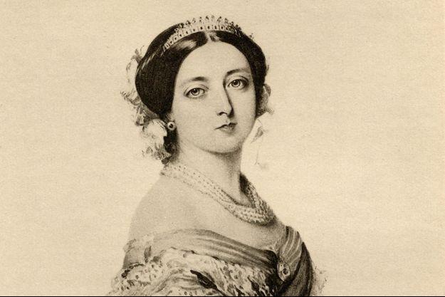 La reine Victoria, portrait en 1855 d'après une aquarelle de F. Winterhalter