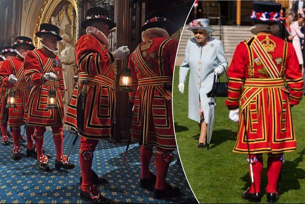 Les Yeomen of the Guard lors de l'ouverture du Parlement à Londres, le 14 octobre 2019 - A droite, la reine Elizabeth II avec l'un des Yeomen of the Guard lors de la garden party de Buckingham Palace, le 21 mai 2019
