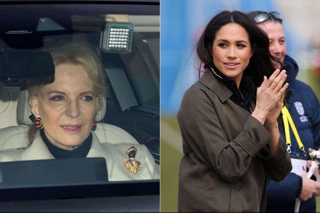 La princesse Michael de Kent, aborant la fameuse broche en 2017, alors qu'elle participait à un repas où se trouvait Meghan Markle.