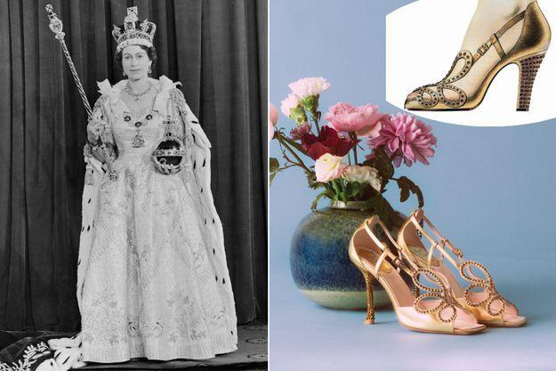 La reine Elizabeth II dans sa tenue de couronnement le 2 juin 1953. A droite : en haut, les escarpins Roger Vivier qu'elle portait, en bas leur version revisitée en 2020
