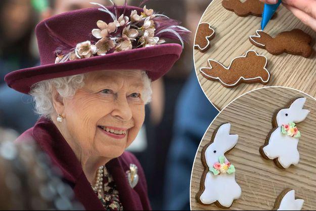 La reine Elizabeth II le 25 février 2020. En vignette, les biscuits de Pâques de Buckingham Palace