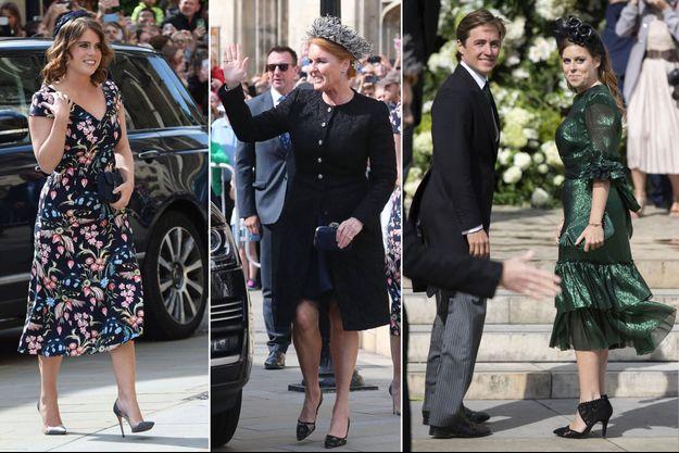 Les princesses Eugenie et Beatrice d'York et leur mère Sarah Ferguson au mariage d'Ellie Goulding à York, le 31 août 2019