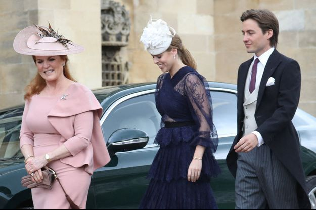 Sarah Ferguson avec la princesse Beatrice et Edoardo Mapelli Mozzi à Windsor, le 18 mai 2019