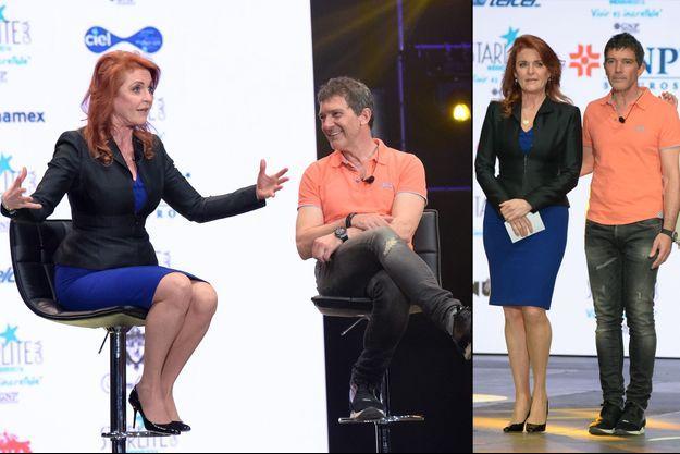 Sarah Ferguson et Antonio Banderas à Mexico, le 7 mars 2016