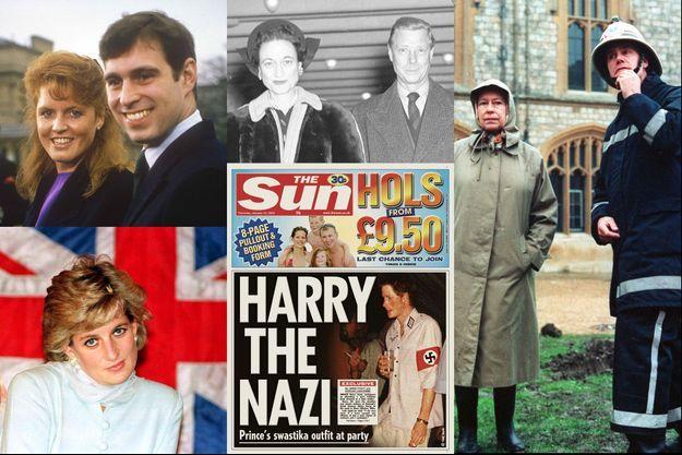 Dans le sens des aiguilles du montre, en commençant par le coin en haut à gauche : le prince Andrew et Sarah Ferguson en 1986, le duc et la duchesse de Windsor en 1946, la reine Elizabeth en 1992, le prince Harry en 2005, et la princesse Diana en 1996.