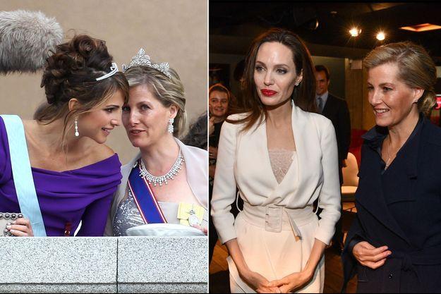 La comtesse Sophie de Wessex avec la reine Rania de Jordanie, le 19 juin 2010, et avec Angelina Jolie, le 23 novembre 2018