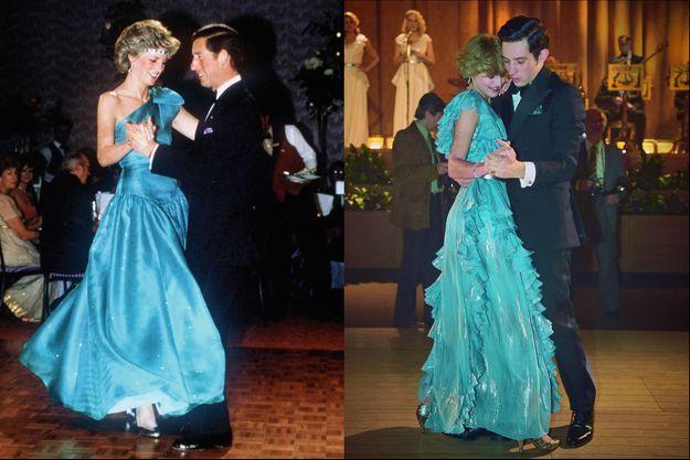 Pendant un bal à Melbourne, au cours du premier voyage officiel de Charles et Diana, en 1983, en Australie. A d. : Presque les mêmes, dans la saison 4. Mais plus gauches, et moins souriants.