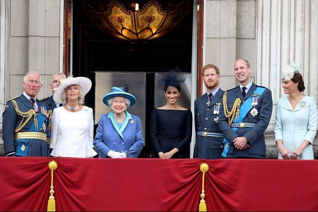 La famille royale britannique en juillet 2018 lors du centenaire de la Royal Air Force