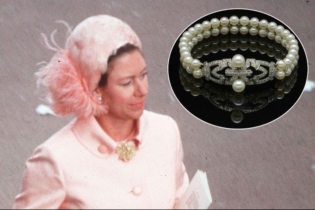 La princesse Margaret, le 15 juin 1970. En vignette: son bracelet Art déco vendu aux enchères ce mardi 14 septembre 2021