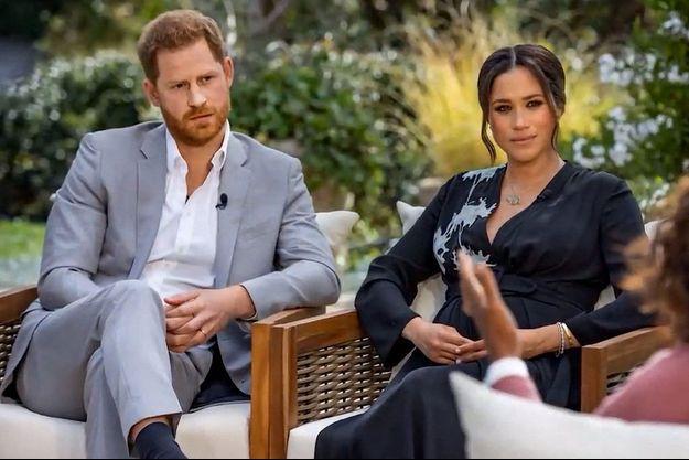 Meghan et Harry lors de leur interview par Oprah Winfrey.