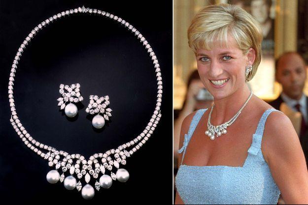 """Le collier """"Swan Lake"""" et les boucles d'oreilles assorties en 2010. A droite, Lady Diana Spencer porte le collier en juin 1997"""