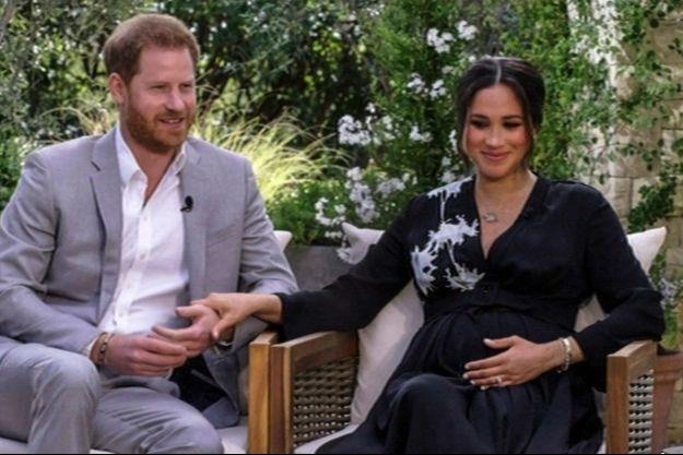 Le prince Harry et Meghan Markle lors de leur interview avec Oprah Winfrey.