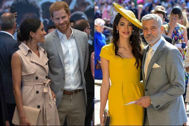 Meghan Markle et le prince Harry à Londres le 17 juillet. George et Amal Clooney le 19 mai lors du mariage du couple.