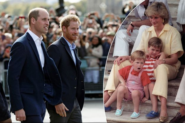 Les princes William et Harry le 10 octobre 2016. A droite : avec leur mère Lady Diana, le 9 août 1987
