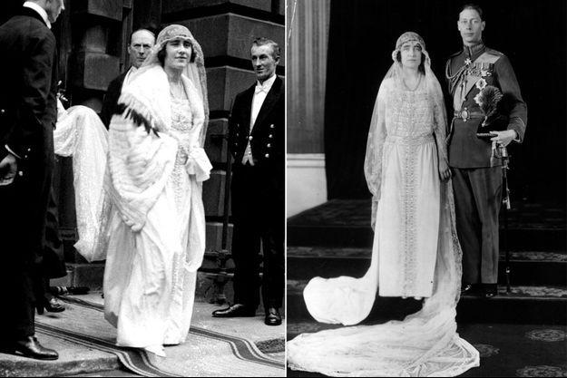 La robe de mariée d'Elizabeth Bowes-Lyon le 26 avril 1923
