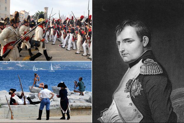 Journées napoléoniennes à Ajaccio pour les 250 ans de la naissance de Napoléon, le 13 août 2019. A gauche, gravure figurant l'empereur en 1815