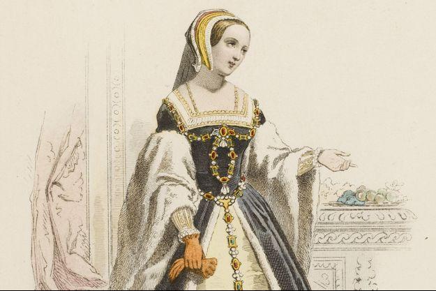 Lithographie du XIXe siècle représentant la reine Claude, première épouse de François Ier, avec les fruits auxquels elle donna son nom