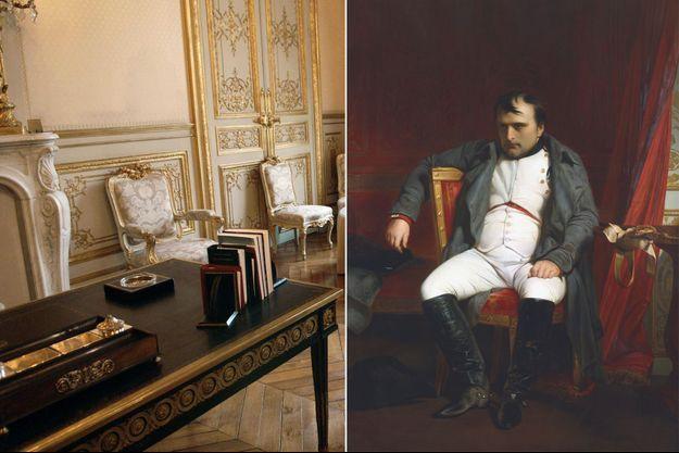 Le bureau noir de l'Hôtel de Lassay à Paris, le 14 janvier 2006 - Portrait de Napoléon Ier pendant sa première abdication par Paul Delaroche (Musee de l'Armée, Paris)