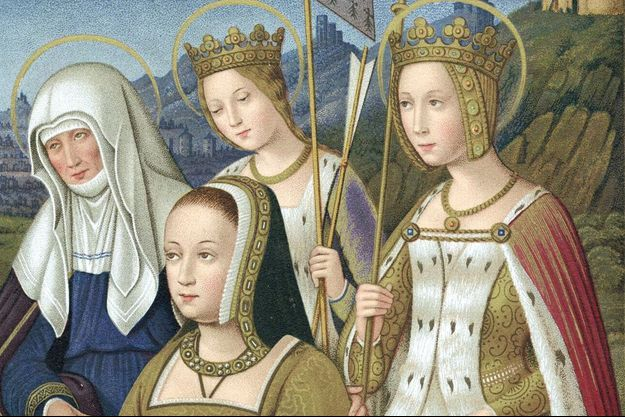 Anne de Bretagne sur une miniature tirée des ''Grandes Heures d'Anne de Bretagne'', livre d'heures du début du XVIe siècle conservé à la Bibliothèque nationale à Paris