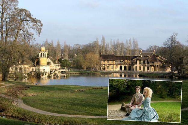 """Le Hameau de la Reine à Versailles. En vignette, une scène de fiction du documentaire """"Le Versailles secret de Marie-Antoinette"""""""
