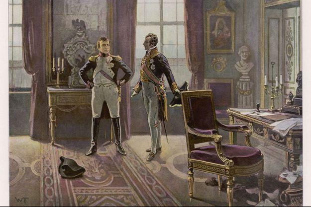 Illustration figurant l'entrevue de Napoléon Ier et Metternich à Dresde, le 28 juin 1813