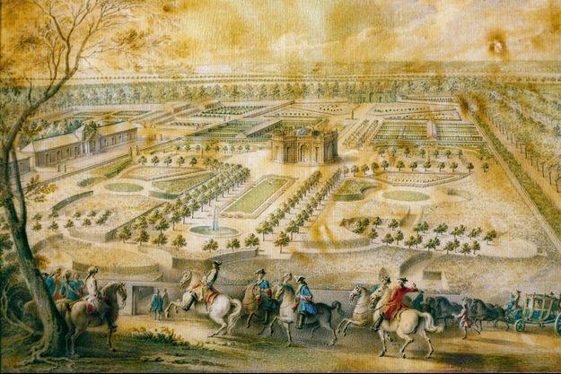 """Dessin figurant """"Louis XV en vue des jardins de Trianon"""", vers 1750, par Jacques-André Portail"""