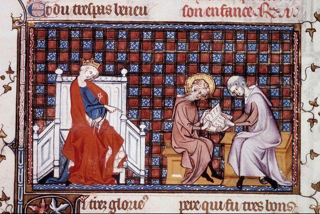 """Blanche de Castille dirigeant l'éducation de son fils Louis IX (détail d'une miniature de """"Vie et miracles de saint Louis"""" par Guillaume de Saint Pathus, 1320 (Paris, B.N.)"""