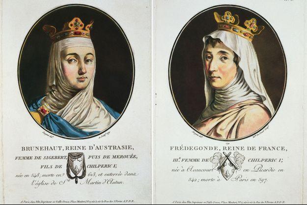 Brunehaut et Frédégonde, reines d'Austrasie et de Neustrie par Antoine-Francis Sergent-Marceau