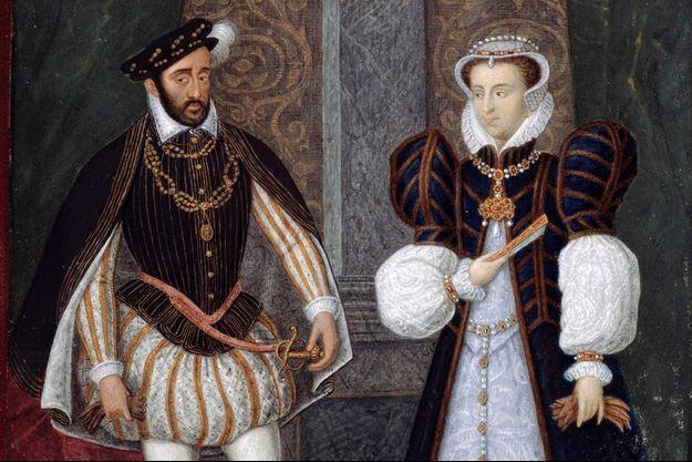 Détail d'un portrait d'Henri II et Catherine de Médicis. Peinture anonyme francaise, 16eme siecle (musee du château d'Anet)