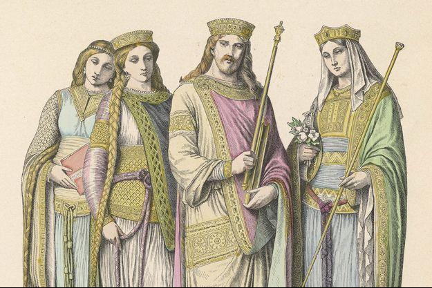 Détail d'une gravure représentant l'empereur Charlemagne et la reine Hildegarde avec deux dames de cour