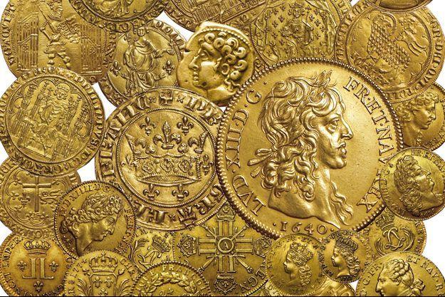 Quelques unes de pièces de monnaie d'or royales françaises qui seront vendues aux enchères à Bordeaux le 20 septembre 2019