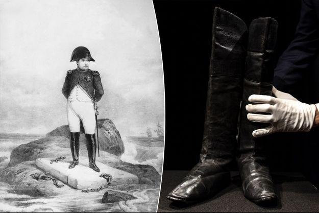 Les bottes de Napoléon Bonaparte vendues à Paris, le 29 novembre 2019. A gauche, gravure montrant l'ancien empereur Napoléon Ier en exil à Sainte-Hélène