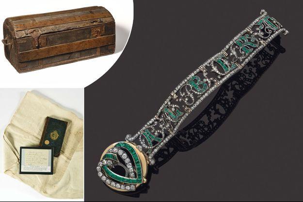 Malle de voyage de sa suite et grande serviette utilisée par la reine Marie-Antoinette, et bracelet commandé par le futur roi Albert Ier de Saxe, lots de la vente aux enchères de la Maison Osenat du 24 mai 2020 à Versailles