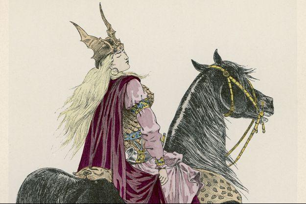 La reine franque Brunehaut à cheval (détail), gravure.