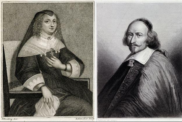Gravures figurant Anne d'Autriche et le cardinal Mazarin