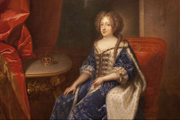 Détail du portrait de Marie-Thérèse d'Autriche, épouse de Louis XIV, par Francois de Troy (musee des Beaux-Arts d'Angers)