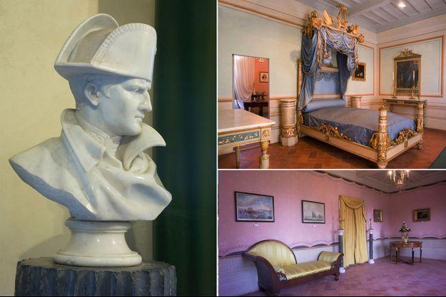 Buste de Napoléon Ier, la chambre de l'Empereur et une pièce de la Palazzina dei Mulini à Portoferraio