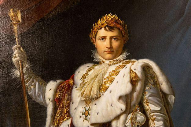 """Détail d'une peinture de l'exposition """"Napoléon et le mythe de Rome""""."""