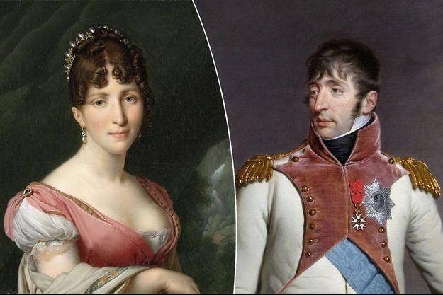 Portraits d'Hortense de Beauharnais par Girodet, vers 1805-1809, et de Louis Bonaparte par Hodges en 1809 (Rijksmuseum, Amsterdam)