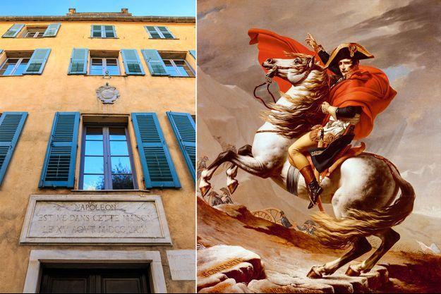 """La maison natale de l'empereur Napoléon Ier à Ajaccio en 2016 - """"Bonaparte franchissant le Grand-Saint-Bernard"""" par Jacques-Louis David"""
