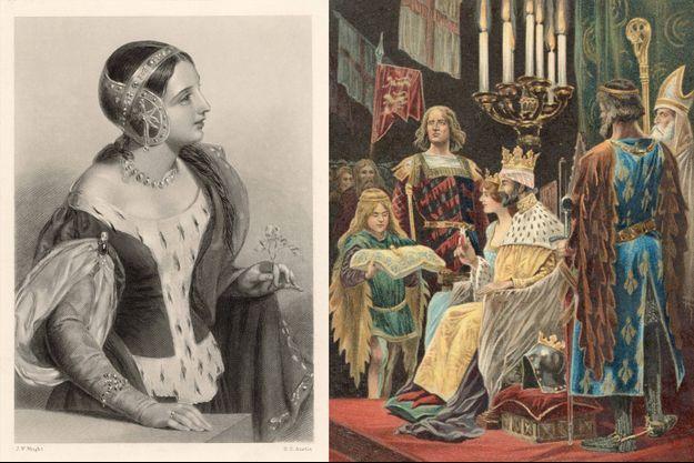 Isabelle de France seule (à gauche) et avec son mari le roi d'Angleterre Edward II lors de leur couronnement à Westminster le 25 février 1308