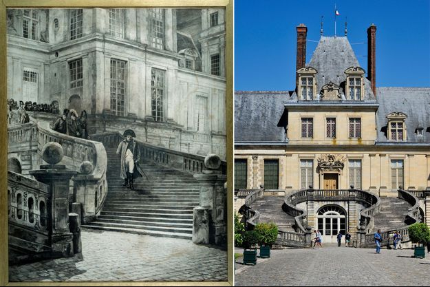 Gravure figurant Napoléon Ier à Fontainebleau après son abdication (Malmaison, musée du Château) – L'escalier du château de Fontainebleau le 25 mars 2017