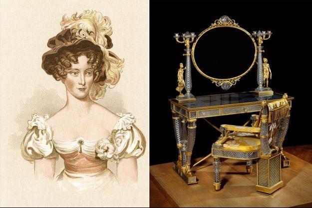 La duchesse de Berry, vers 1830. Sa table de toilette et son fauteuil en cristal conservé au Musée du Louvre