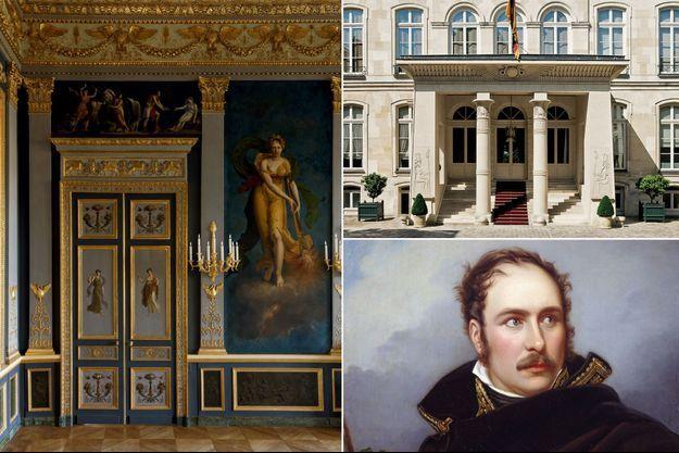 Le salon des quatre saisons et le portique égyptien de l'hôtel de Beauharnais à Paris - En bas, à droite : Eugène de Beauharnais par Joseph Karl Stieler en 1805