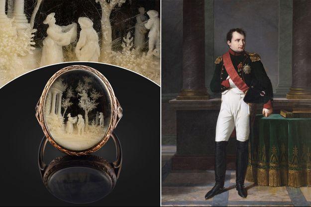 La bague donnée à Caroline du Colombier par Napoléon Bonaparte. A droite, portrait de Napoléon par Robert Lefevre