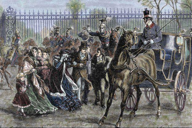 Gravure figurant la fuite de Louis-Philippe des Tuileries avec sa famille, le 24 février 1848