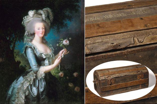 Portrait de Marie-Antoinette à la rose par Elisabeth Vigée-Lebrun (Musée de l'Histoire de France, Versailles) – La malle de la suite de Marie-Antoinette vendue par la Maison Osenat, le 24 mai 2020
