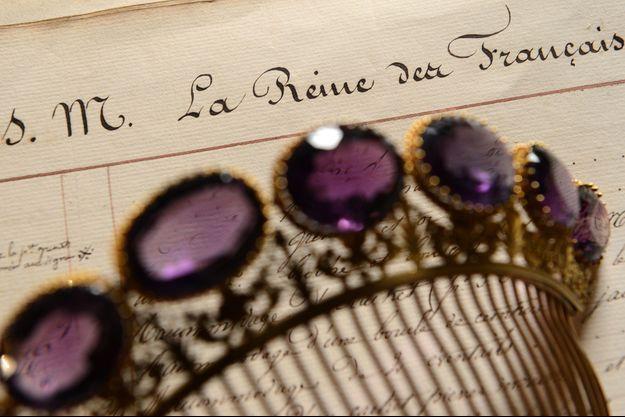 L'une des pièces de la parure d'améthystes de la reine Marie-Amélie, photographiée en 2012 chez Mellerio à Paris