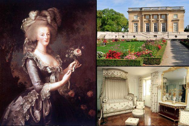 """À gauche: """"Marie Antoinette a la Rose"""" par Vigee-Lebrun, 1784, conservé au château de Versailles. En haut à droite: le Petit Trianon à Versailles en 2012. En bas à droite: la chambre de Marie-Antoinette au Petit Trianon en octobre 2008, après sa restauration."""